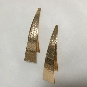 Jewelry - Hammered Goldtone Long Post Earrings